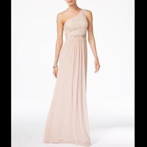 Adrianna Papell Embellished/Lace OneShoulder Dress